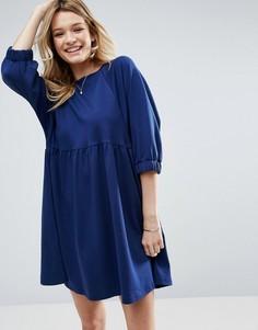 Хлопковое свободное платье с эластичными манжетами ASOS - Темно-синий