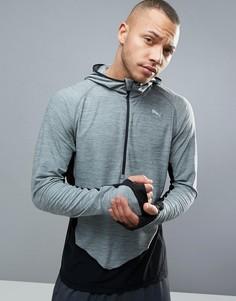 Серый свитшот с короткой молнией Puma Running 51435101 - Серый