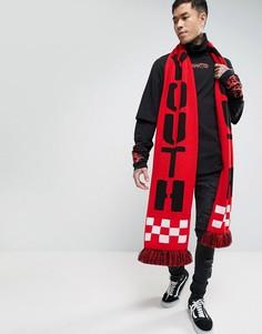 Oversize-шарф с крупной надписью Youth Granted - Красный