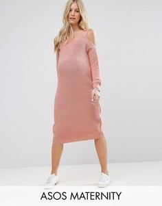 Платье с вырезами на плечах ASOS Maternity - Розовый