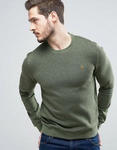 Зеленый меланжевый свитшот с круглым вырезом Farah Tiller - Зеленый