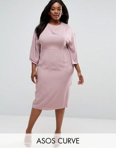 Декорированное платье-кимоно миди ASOS CURVE - Розовый