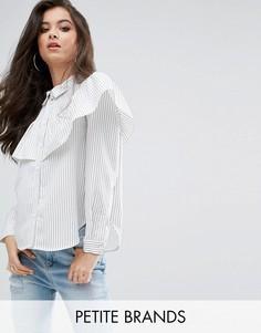 Белая рубашка в полоску с длинными рукавами и оборкой Missguided Petite - Белый