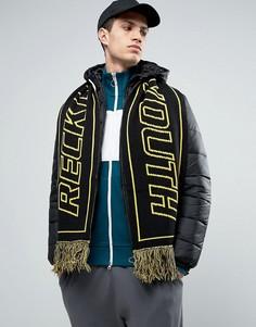 Двусторонний футбольный шарф с надписью Reckless Youth ASOS - Черный