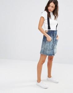 Строгая юбка-трапеция на подтяжках G-Star Dadin - Синий