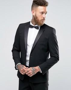 Черный пиджак-смокинг узкого кроя ASOS - Черный