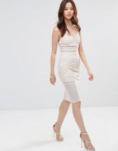 Платье миди из цветочного кружева Girl In Mind Ava - Розовый