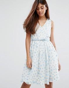 Короткое приталенное платье с поясом Darling - Синий