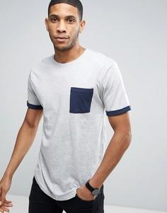 Длинная футболка с карманом и манжетами контрастного цвета Only & Sons - Серый