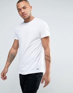 Белая футболка с круглым вырезом и необработанным краем Esprit - Белый