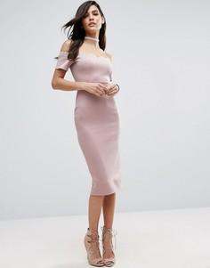Платье-футляр миди с открытыми плечами и фигурным краем ASOS - Бежевый