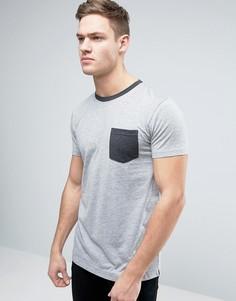 Футболка с контрастной горловиной и карманом Esprit - Серый