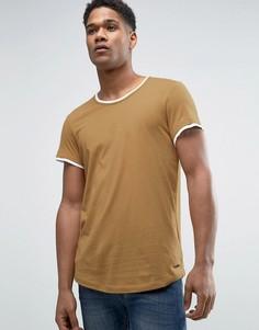 Длинная футболка с двойной кромкой и асимметричным подолом Esprit - Бежевый