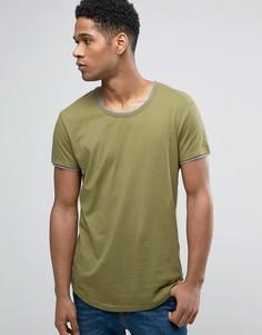 Длинная футболка с двойной кромкой и асимметричным подолом Esprit - Зеленый