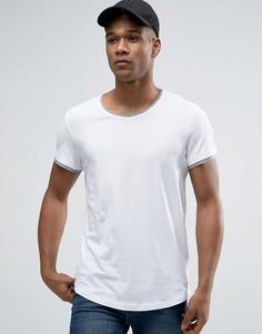 Длинная футболка с двойной кромкой и асимметричным подолом Esprit - Белый