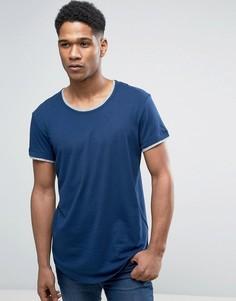 Длинная футболка с двойной закругленной кромкой Esprit - Темно-синий