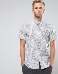Белая рубашка с короткими рукавами и цветочным принтом PS by Paul Smith - Белый