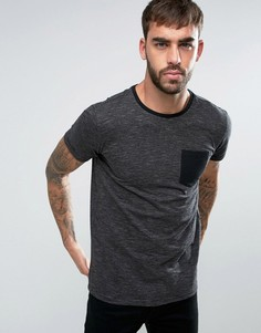 Черная футболка в полоску с карманом Lindbergh - Черный