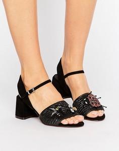Босоножки на каблуке с декоративной отделкой ASOS TURTLE - Черный