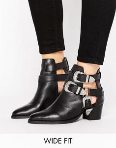 Кожаные ковбойские ботинки для широкой стопы ASOS RADIATE - Черный