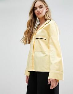 Пижамная рубашка с контрастной окантовкой House Of Sunny - Желтый