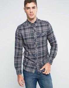 Узкая рубашка в клетку в стиле вестерн Wrangler Castle Rock - Серый
