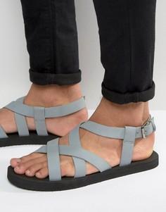 Серые нубуковые сандалии с перекрестными ремешками ASOS - Серый