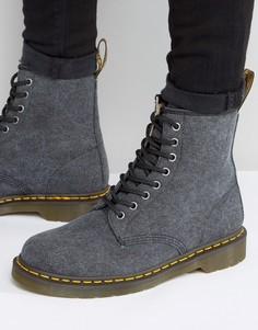 Выбеленные парусиновые ботинки с 8 парами люверсов Dr Martens 1460 - Черный