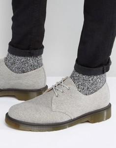 Выбеленные парусиновые туфли с 3 парами люверсов Dr Martens Lester - Серый