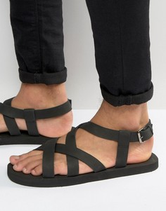 Черные нубуковые сандалии с перекрестными ремешками ASOS - Черный