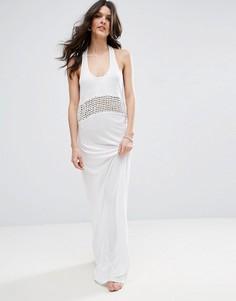 Пляжное трикотажное платье макси с решетчатой вставкой ASOS - Белый