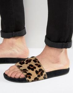Шлепанцы с леопардовым принтом adidas Originals Adilette BB3109 - Черный