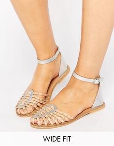 Кожаные сандалии для широкой стопы ASOS JAGWAR - Бежевый