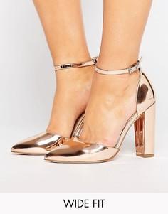Туфли на каблуке для широкой стопы с острым носком ASOS PENALTY - Золотой
