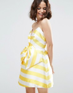 Платье мини в полоску с бантом спереди ASOS SALON - Желтый