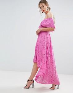 Кружевное платье миди с широким вырезом и удлиненным подолом сзади ASOS SALON - Синий