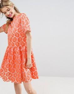 Короткое приталенное платье из органзы с цветочной вышивкой ASOS SALON - Мульти