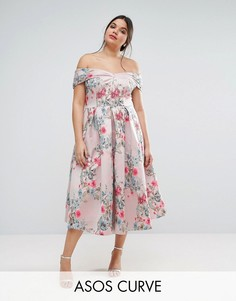 Жаккардовое платье для выпускного миди ASOS CURVE SALON - Мульти