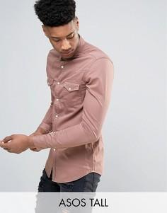 Розовая приталенная джинсовая рубашка в стиле вестерн ASOS TALL - Розовый