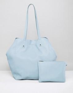 Мягкая сумка-шоппер со съемным клатчем ASOS - Синий