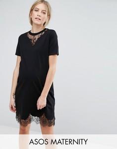 Платье-футболка с кружевными вставками ASOS Maternity - Черный