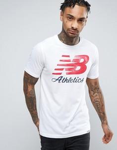 Белая футболка с логотипом New Balance Heritage MT71508_WT - Белый