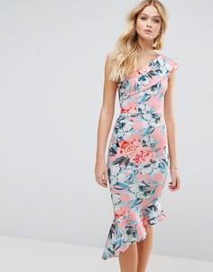 Платье миди на одно плечо с цветочным принтом и воланом по низу ASOS - Розовый
