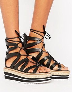 Сандалии на платформе со шнуровкой Sixtyseven - Черный