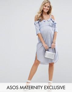 Платье-рубашка с открытыми плечами и отворотами ASOS Maternity - Синий