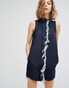 Цельнокройное платье с бахромой Vale - Синий
