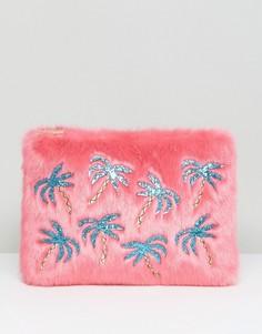 Меховой клатч с аппликацией из пальм Skinnydip - Розовый