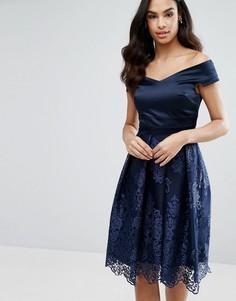 Платье миди с кружевной юбкой и открытыми плечами Vesper - Темно-синий