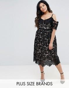 Кружевное платье миди с открытыми плечами New Look Plus - Черный
