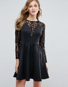 Платье с кружевными рукавами Amy Lynn - Черный